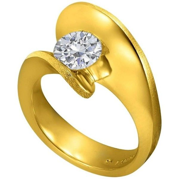 1 Carat Alex Soldier Dance Of Life Diamond Yellow Engagement Gold Ring (30.410 RON) ❤ liked on Polyvore featuring jewelry, rings, engagement rings, yellow, round diamond ring, round engagement rings, swirl engagement ring, thin engagement ring and 18k gold ring