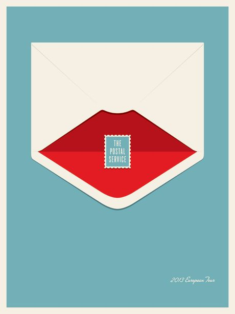 Designer:  Jason Munn    THE POSTAL SERVICE - EUROPE TOUR 2013 4 Color Screen Print; 18 x 24 Inches Via:  http://jasonmunn.com/poster.php?name=ThePostalServiceEurope
