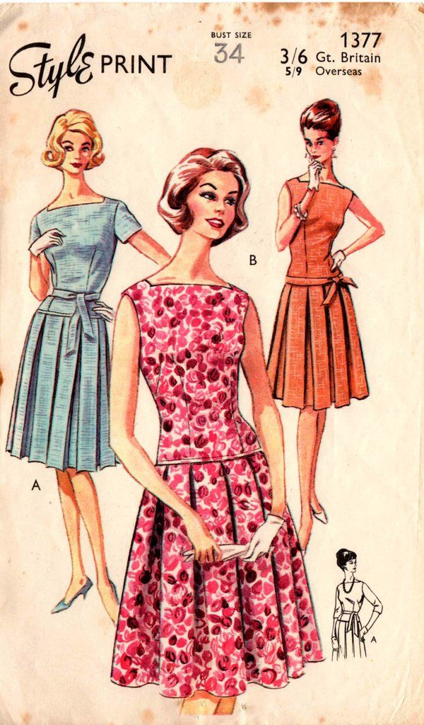 Style 1377 RARE Square Necked Low Waisted Dress with Pleated Skirt 60s Vintage sewing pattern Bust 34 inches