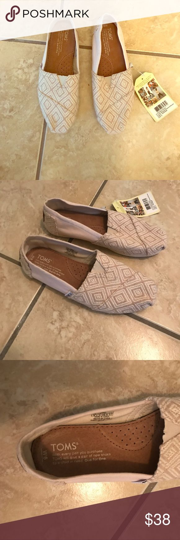 Tom's shoes Classic Whisper Diamond Woven Toms shoes, never been worn Toms Shoes Flats & Loafers