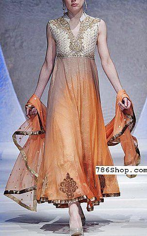 Off-white/Orange Crinkle Chiffon Suit | Buy Pakistani Dresses Online in USA | www.786shop.com