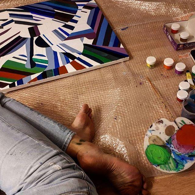 #рабочиемоменты #вечерпятницы #fridayfunday #картина #живопись #картинавинтерьер #60х90 #безудержноевеселье