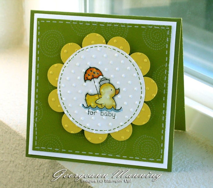 handmade baby card ... square ... non-traditional baby colors ... sweet duck image ... Stampin' Up!