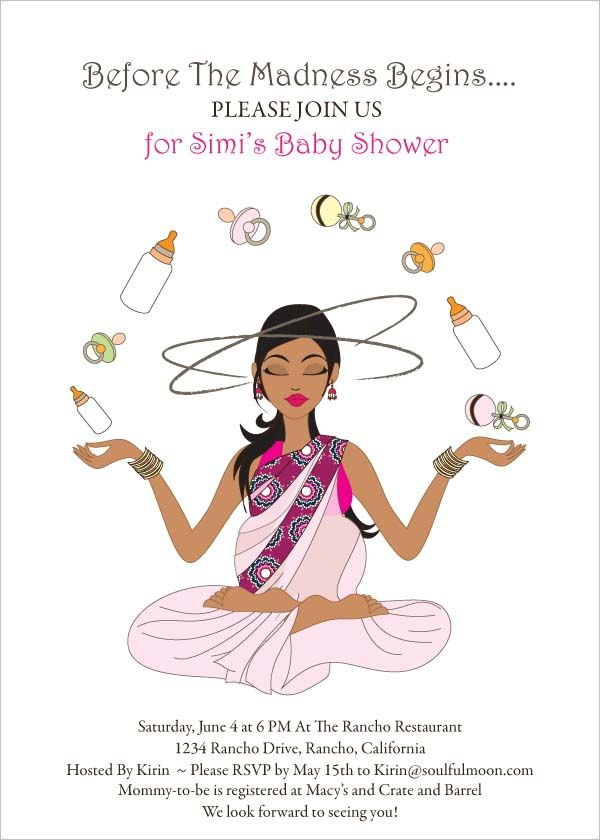 Meditating Mommy - Indian Baby Shower Invitation by #Soulfulmoon