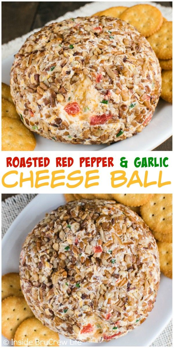 This delicious Roasted Red Pepper and Garlic Cheese Ball is a great appetizer for parties or game days.