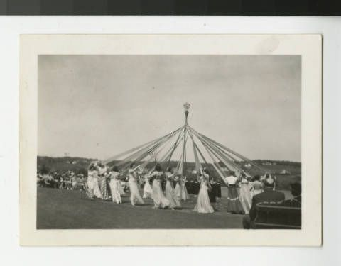 maypole at College of St. Scholastica in Duluth, MN; source: Minnesota Reflections, http://reflections.mndigital.org/cdm/singleitem/collection/p15160coll8/id/34/rec/30