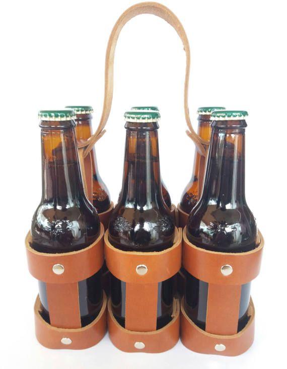 Botellero cerveza de piel / Beer basket
