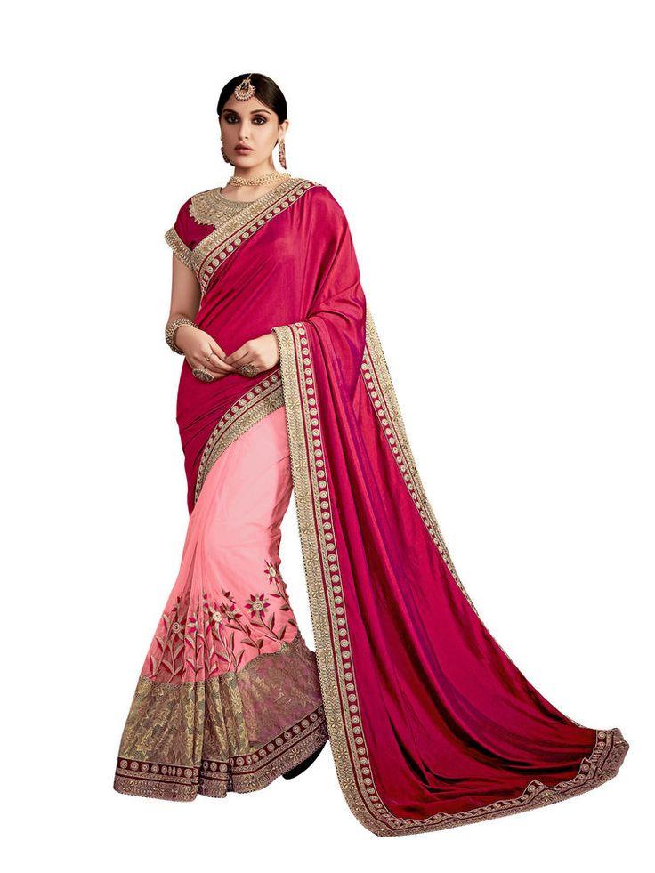 New India Ethnic Design Wear Bollywood Saree Premium Wedding Wear Saree Red Pink #RadhaKrishnaExports #BollywoodSaree #PremiumWeddingWear