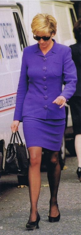 """Princess Diana always look hot in royal purple. I read an article saying it was one of her least elegant outfits, I like it but I guess those were the """"in things"""" back then."""