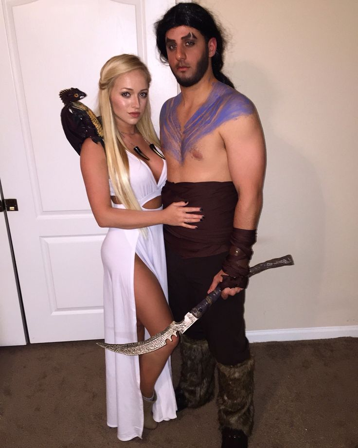 DIY Khaleesi and Khal Drogo inspired Halloween costume from Game of Thrones. Daenerys Targaryen, mother of dragons.