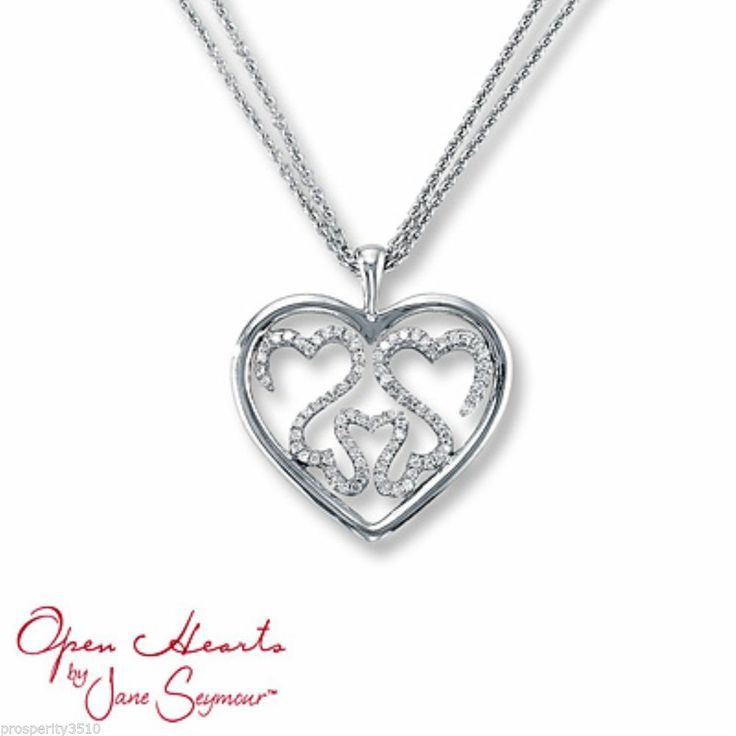Jane Seymour Open Hearts Diamonds Triple Family Pendant Necklace Openheartsbyjaneseymour