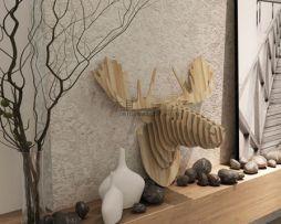 Umelecký drevený 3D obraz s hlavou jeleňa v 9 farbách