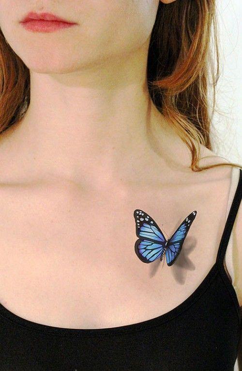 3D butterfly tattoo for girls