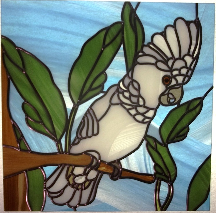 Umbrella Cockatoo Parrot Modern Stained Glass Sun Catcher. $200.00, via Etsy.