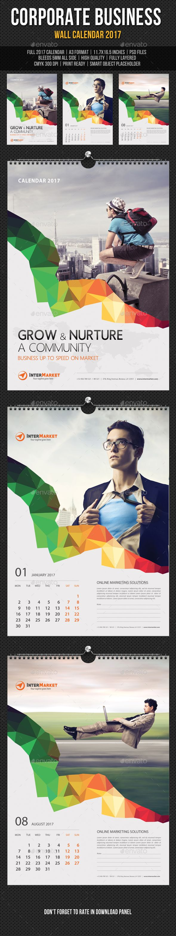 Corporate Business Wall Calendar 2017 Template PSD. Download here: https://graphicriver.net/item/corporate-business-wall-calendar-2017-v07/16965137?ref=ksioks