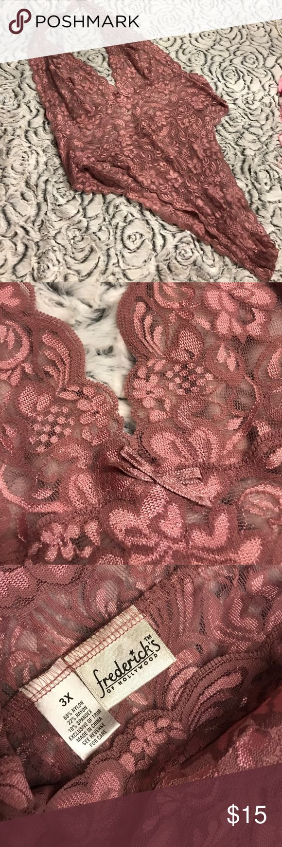 Sz 3x halter bodysuit by Fredericks of Hollywood This is a tempting lace halter bodysuit by Fredericks of Hollywood in mauve hues. Frederick's of Hollywood Intimates & Sleepwear Chemises & Slips