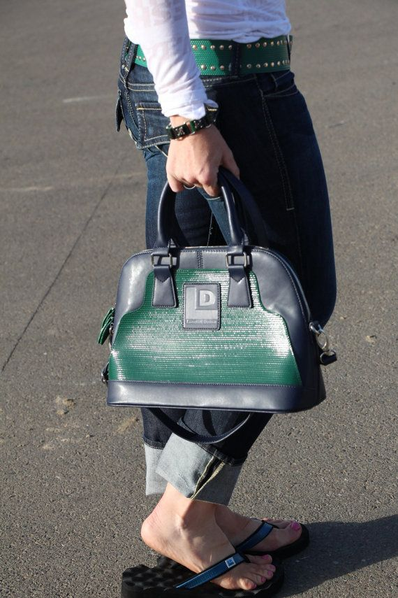 Upcycled green layflat hose with navy leather by landfilldzine. Explore more products on http://landfilldzine.etsy.com