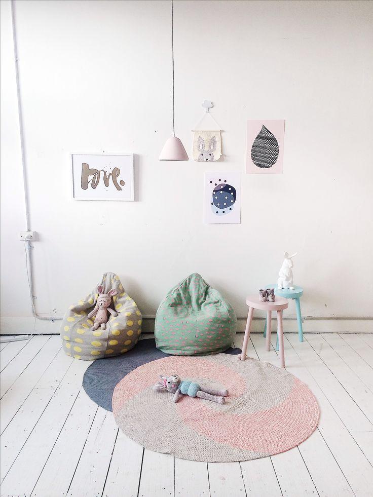 La de dah kids bean bag and crochet floor rugs