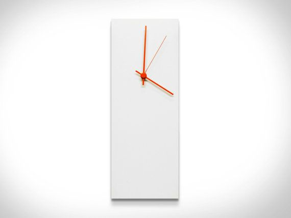 $74.99 'Whiteout Orange' Clock (25% OFF) A beautiful white metal wall clock with a splash of color in vibrant orange #clock hands. Also available in blue, green, white and black clock hands. 6 x 16 x 1. Acrylic on space age aluminum with an innovative UV coating. www.etsy.com/listing/150788298/25-off-fall-colors-sale-white-clock?ref=shop_home_active