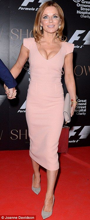 Geri Halliwell in a nude pink Roland Mouret dress