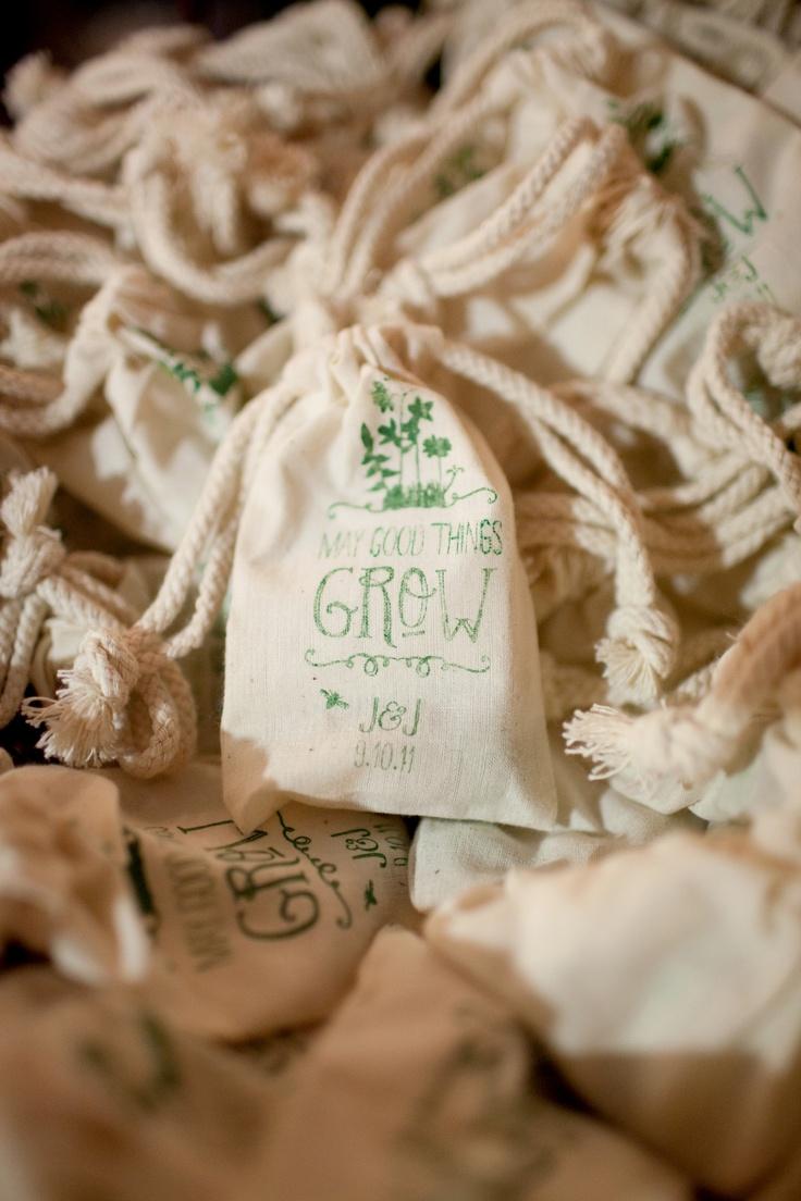 Screenprinted wildflower seed bags as guest favors