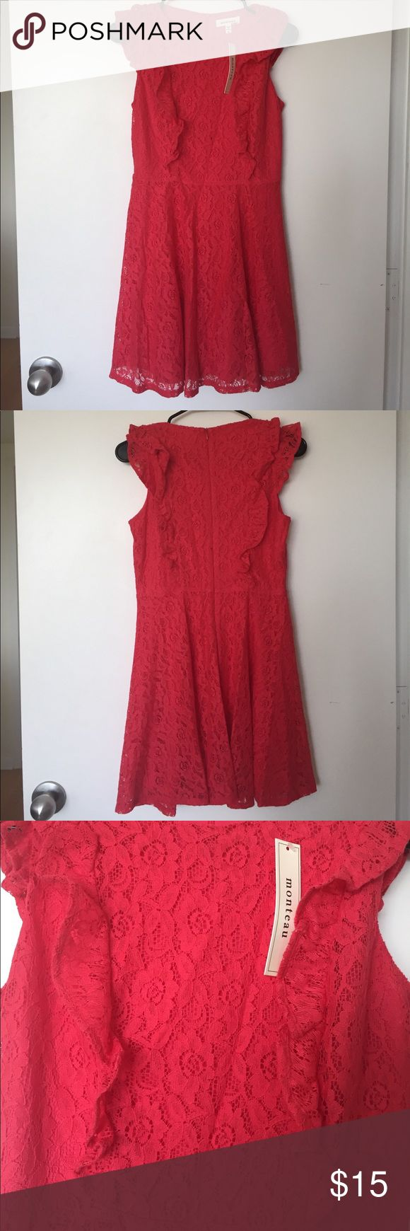 Coral lace dress Adorable coral lace dress, size small, NWT Monteau Dresses Mini