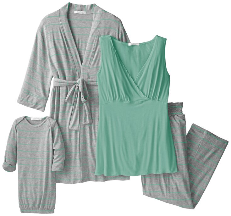 Everly Grey Women's Maternity Roxanne Nursing Pajama Pant Set with Baby Gown, Sea Foam, Medium