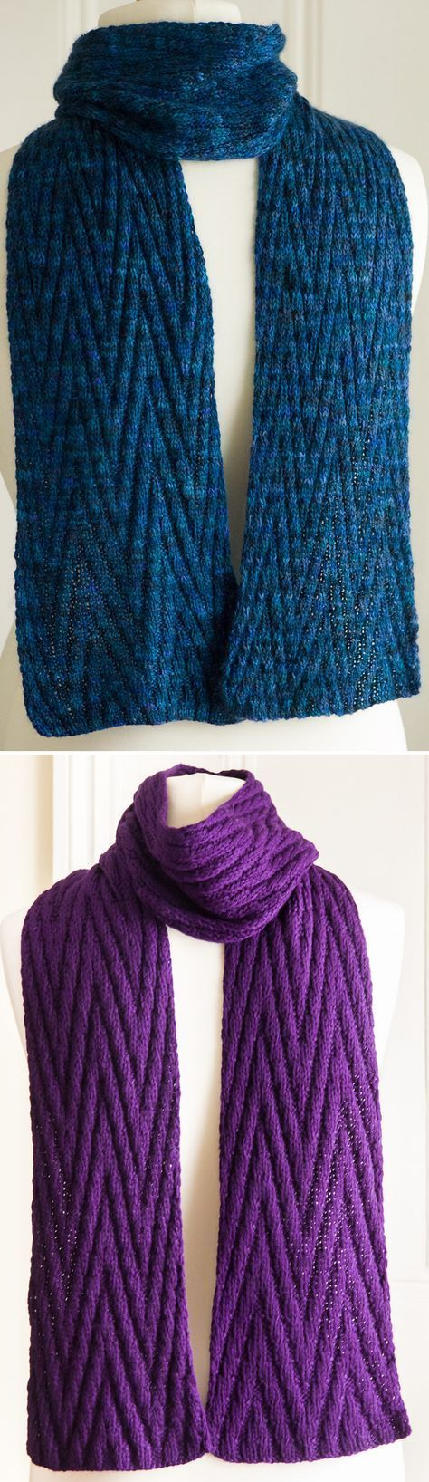 Free Knitting Pattern for Reversible Chevron Scarf - Completely reversible stitch pattern looks the same on both sides. Designed by Debbie Seton. Rated easy by most Ravelrers