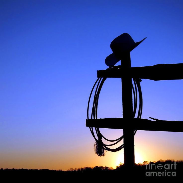 Cowgirl Hat Silhouette | Western Sunset Photograph