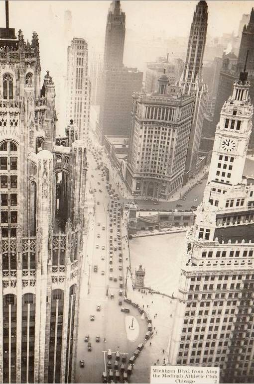 1930s aerial looking south on Michigan Ave from Tribune Building left and Wrigley Building right