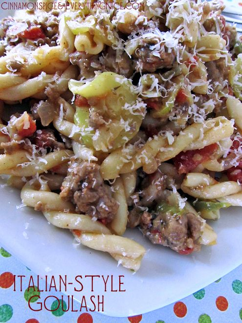 italian-style goulash - A hearty and delicious Italian goulash that comes together quickly with ground beef, zucchini coins, Parmesan cheese and tomatoes.