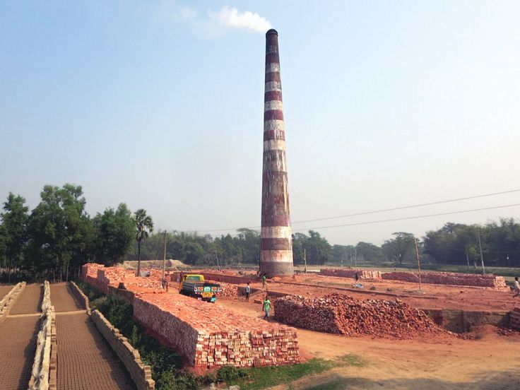 Bricks are the main construction material in Bangladesh and brickyard chimnies are seen all around the country.