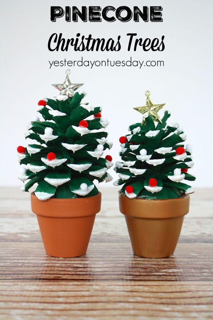 Pinecone Christmas Trees, a fun pinecone craft for kids or adults