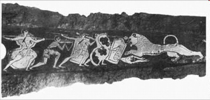 Pintura micênica.  A civilização micênica apresentou novas características na arquitetura, tais como construções longas e retangulares, grande representação militar e muralhas envolvendo as cidades; as paredes dos palácios eram decoradas por pinturas que mostravam cenas de guerra e caça.