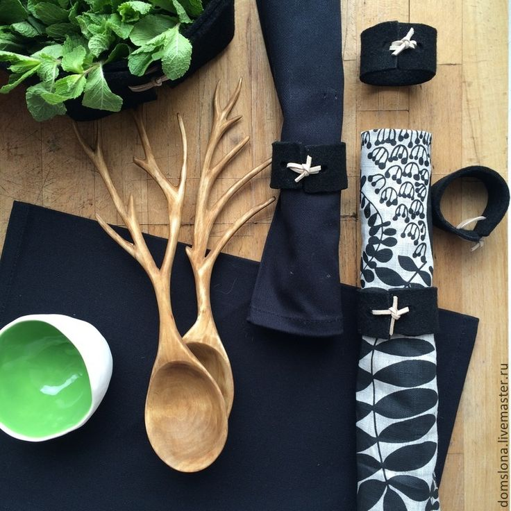 Купить Кольца для салфеток из фетра (4 шт.) - черный, Декор, сервировка, кухня