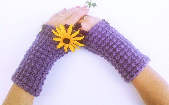 Plum purple buttoned knit wrist warmers birthday by HandmadeTrend, $26.00