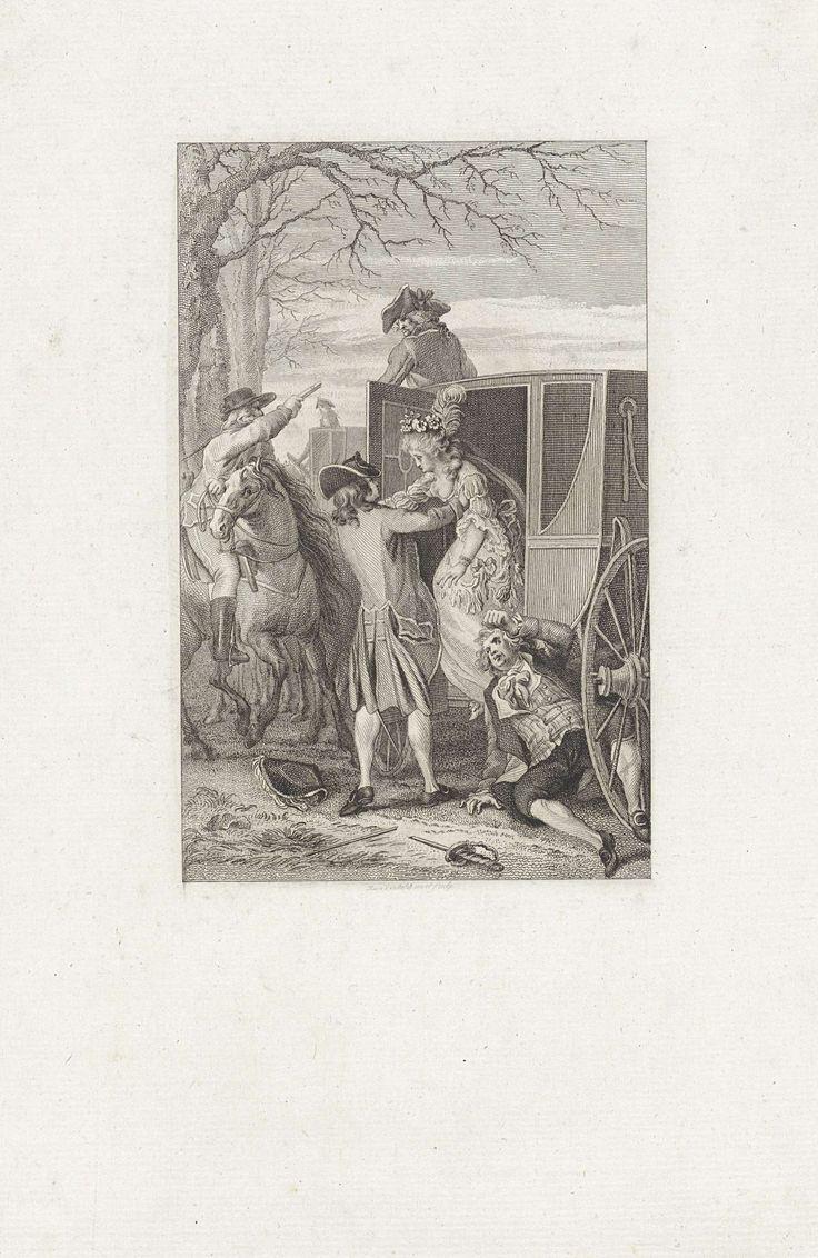 Reinier Vinkeles | Strubbelingen rond een koets, Reinier Vinkeles, 1797 | Terwijl de man op de bok van een koets onder vuur wordt gehouden, helpt een heer een dame uit de koets. Op de grond naast hen ligt een man met een van zijn benen tussen de spaken van het voertuig.