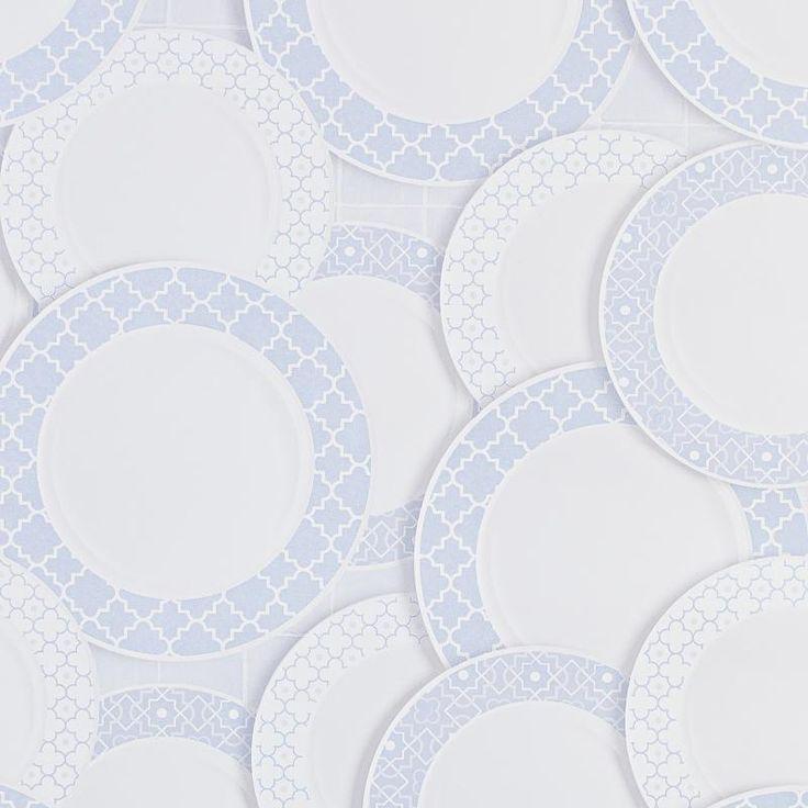Обои виниловые 0.53х10 м тарелки цвет синий АС 321334