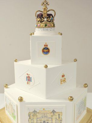 Military caterers have baked a cake for the Queen's Diamond Jubilee parade and muster at Windsor Castle.