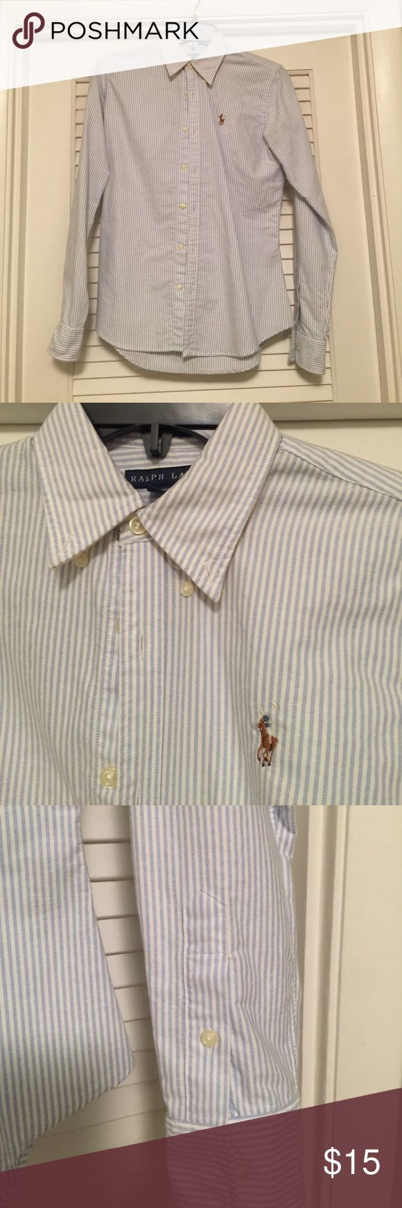 Ralph Lauren women's oxford shirt Lightly worn blue and white striped oxford shirt from Ralph Lauren Ralph Lauren Tops Button Down Shirts