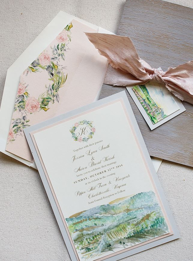 wedding invitations east london south africa%0A Jessica S   Blush Pink and Ivory Watercolor Landscape Wedding Invitations