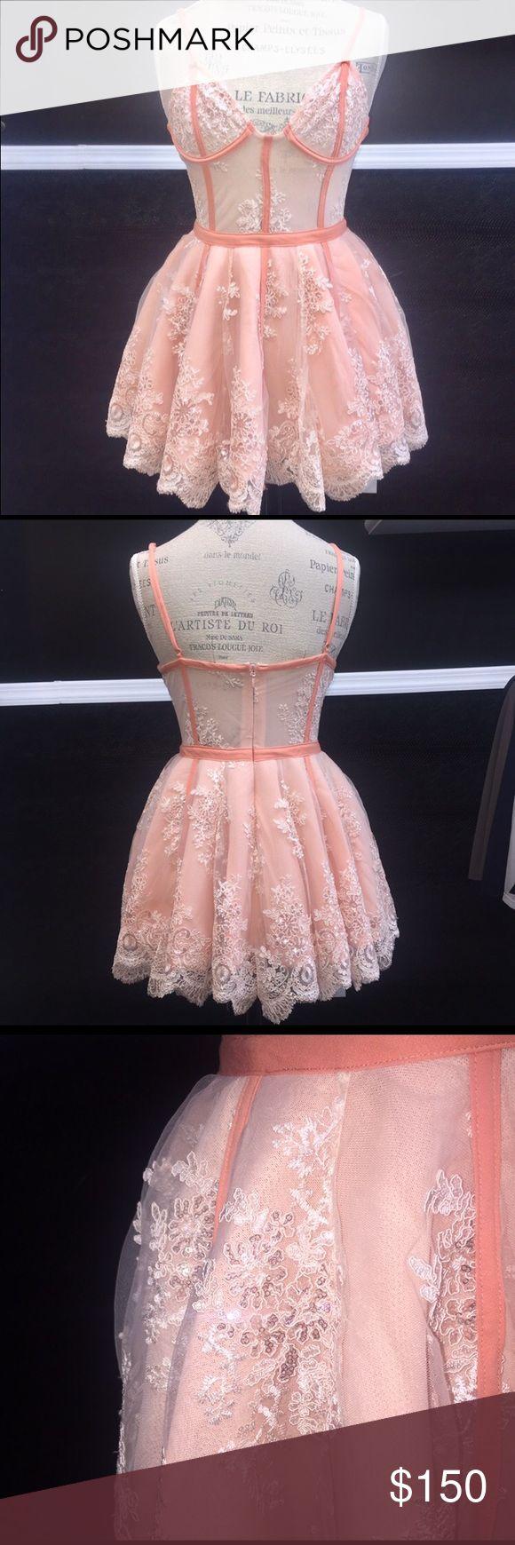House of CB Ravella Peach Lace Dress - Large Beautiful hand-sewn peach Lace dress with bustier-like bodice. Feminine and flirty. Size large. house of cb Dresses Mini