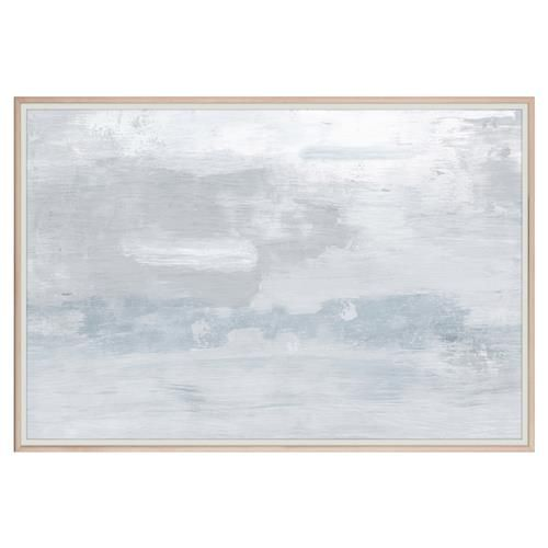 This contemporary Zoe Bios Creative design is an abstract landscape with white washes of color that merge and blend into a cloudy field of muted slate blues and greys. This piece comes in a light brown maple wood frame.
