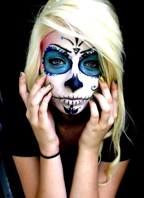 this halloween; watch out. sugar skull. makeup.