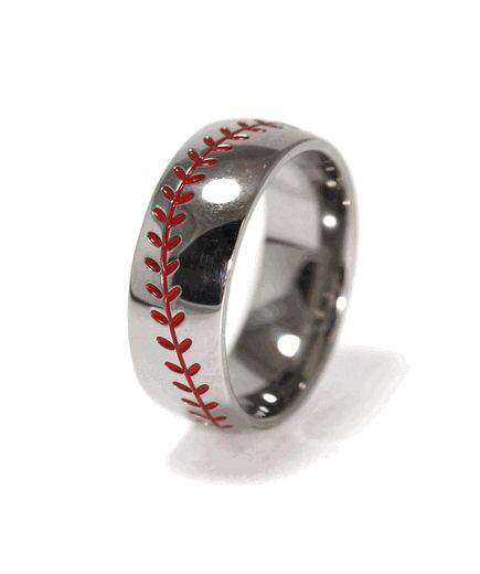 Titanium Baseball Wedding Ring with Color Stitching - Titanium-Buzz