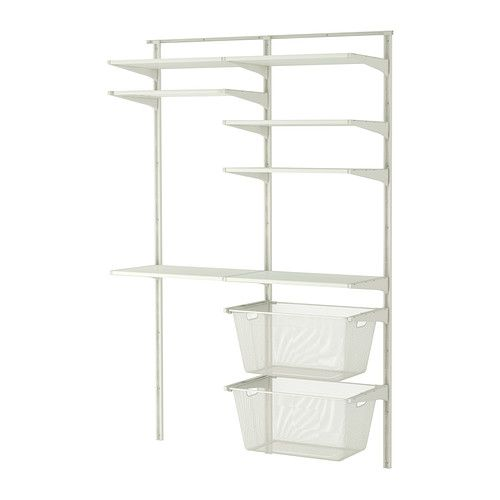 IKEA - ALGOT, Wall upright/shelves/drying rack, The parts in the ALGOT series can be combined in many different ways and easily adapted to your needs and space.Perfect by your washing machine and dryer because it gives you plenty of room to hang, fold and sort your laundry.You can sort your clothes in the smooth-gliding baskets, and since the shelves withstand damp areas, the storage solution is suitable for both bathrooms and laundry rooms.Since you only need to click in the brackets…