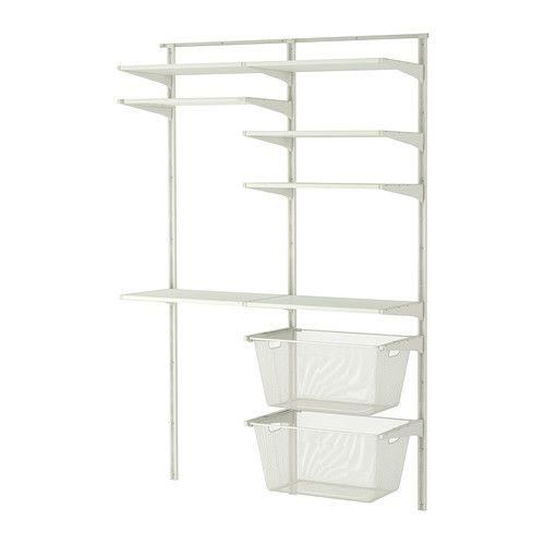 IKEA - ALGOT, Wandrail/planken/droogrek, De onderdelen van de ALGOT serie kunnen op diverse manieren worden gecombineerd en zijn daardoor eenvoudig aan te passen aan de behoefte en de ruimte.Perfect voor bij de wasmachine en de droger omdat het je veel ruimte oplevert voor het ophangen, vouwen en sorteren van de was.Je kan je was sorteren in de soepel lopende bakken. De planken zijn vochtbestendig en dus is de opbergoplossing geschikt voor gebruik in de badkamer en de wasruimte.De c...
