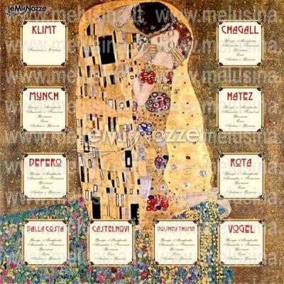 """http://www.lemienozze.it/operatori-matrimonio/fiori_e_addobbi/palloncini-per-feste-roma/media/foto/19  Originale tableau di matrimonio con sfondo del """"Bacio"""" di Klimt"""