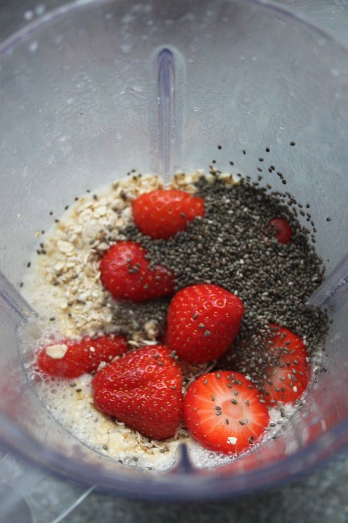 Chia seeds are my current favorite!   1 frozen banana handful of strawberries 1/3 cup of rolled oats 1 cup of almond milk 1 tbsp of chia seeds