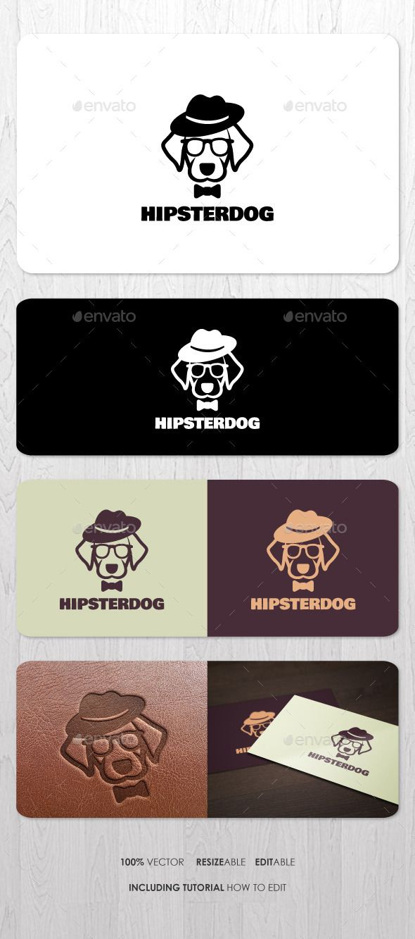 Hipster Dog Logo - Animals Logo Templates